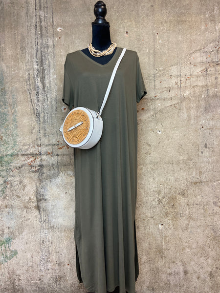 Olive Midi Effortless Dress