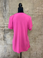 Hot Pink Deep V-Neck Tee