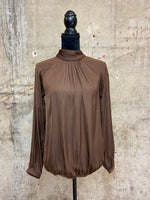 Chocolate Smock-neck Blouse