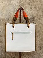White Shopper With Orange Handles
