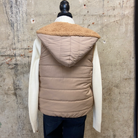 Tan Colorblock Sherpa Lined Vest