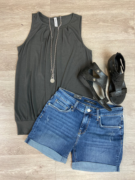 Ash Grey Pleated Tank