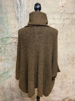 Brown Nubby Turtle Neck Poncho