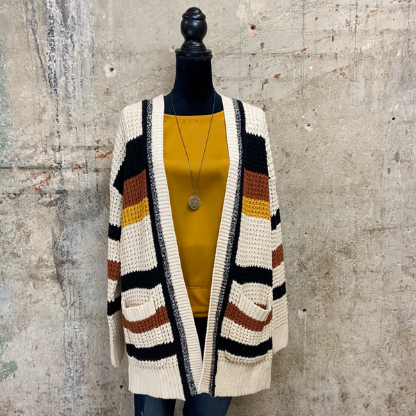 Cream/Black/Rust Stripe Cardigan
