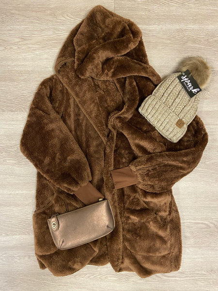 Brown Hooded Faux Fur Jacket