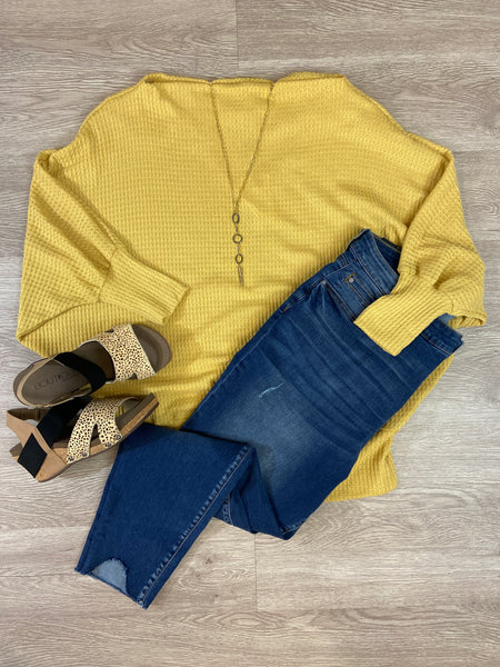 Mustard Thermal Batwing Sweater