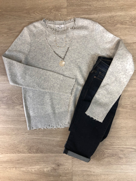 Grey Distressed Detail Sweater