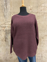 Eggplant Loose Knit Sweater
