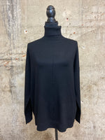 Hi-Low Front Seam Turtleneck Sweater