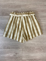 Tan/White Striped Front Tie Shorts