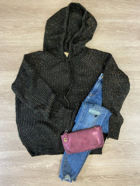 Black Multi Fleck Hoodie Sweater