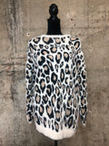 Cream Fuzzy Leopard Print Sweater