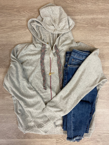 Grey Dolman Hoodie With Plaid Tie