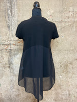 Black Sheer Back Panel Shirt