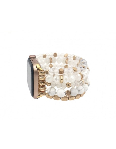 White/Gold Beaded Apple Watch Band