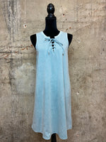 Cyan Lace-up Tank Dress