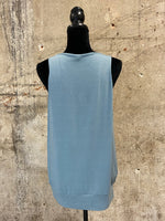 Blue Grey Pleated Tank