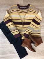 Plum Striped Light Knit Sweater