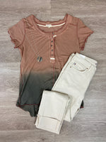 Rose/Charcoal Henley Tee