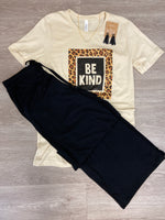Cream Be Kind Leopard Tee