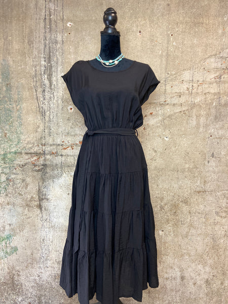Black Crinkle Midi Dress