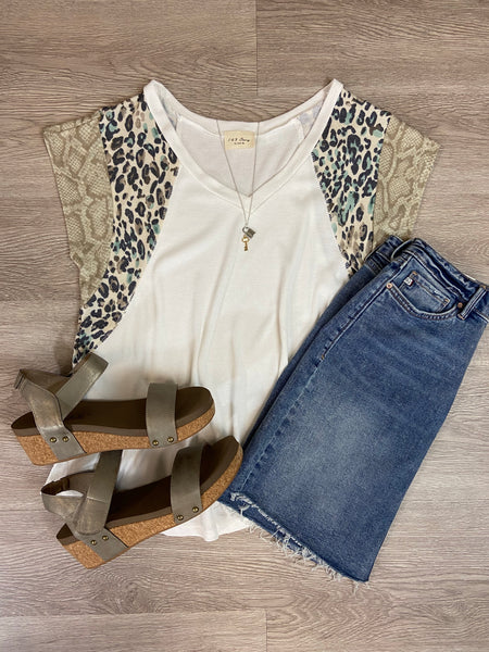 Taupe/Mint Animal Print Top