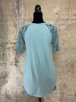 Lace Detail Round Hem Top