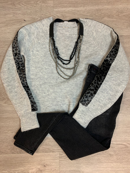 Grey Leopard Trim Sweater