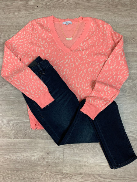 Coral Leopard Print Sweater