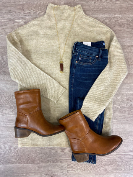 Wheat Funnel Neck Sweater
