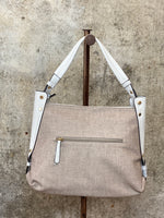 Taupe Linen Hobo With White Trim