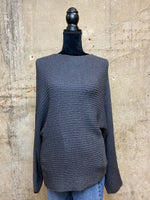 Charcoal Boatneck Dolman Sweater