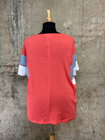 Coral Color Block Sleeve Shirt