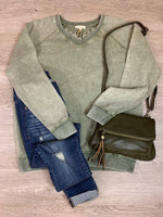 Olive Faded Wash V-Neck Detail Sweater