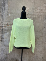 Neon Lemon Crewneck Knit Sweater