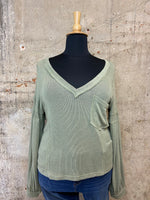 Olive Deep V Balloon Sleeve Knit