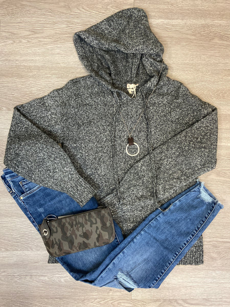 Charcoal Textured Hoodie Sweater