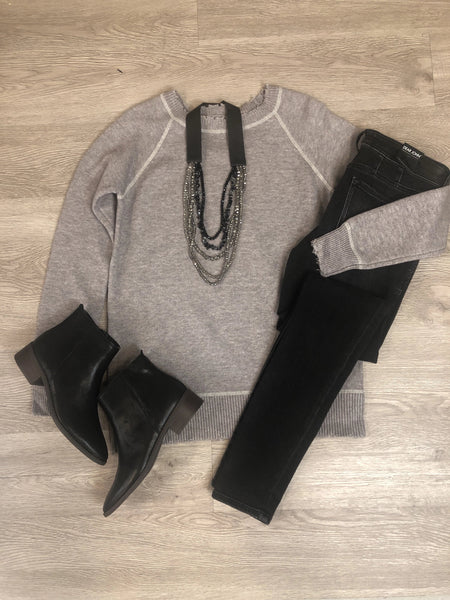 Grey Distressed Hem Sweater