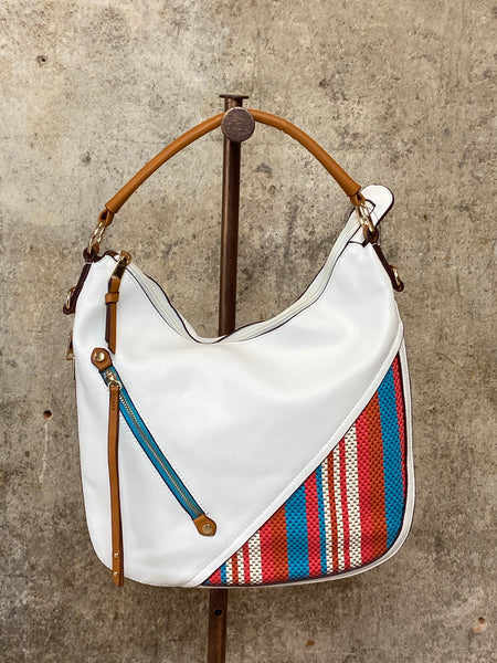 White Hobo With Orange/Turquoise Detail