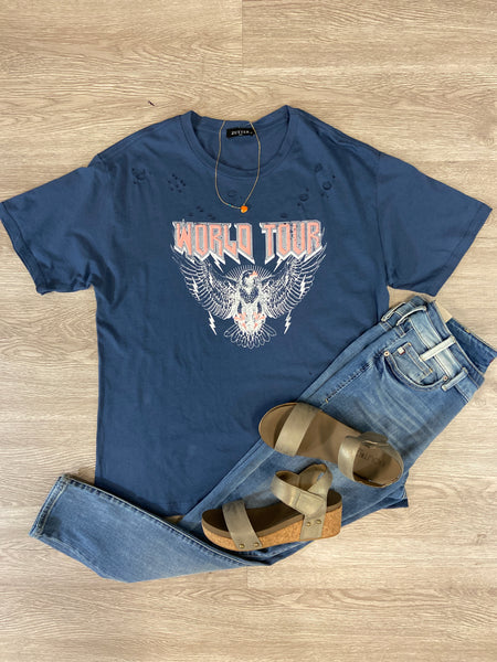 "Blue Distressed ""World Tour"" Tee"