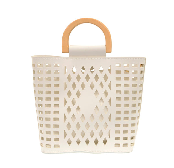 White Madison Cut Out Tote