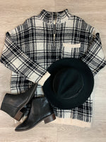 Taupe And Black Plaid Pullover