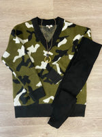 Olive/Black Camo V-neck Sweater