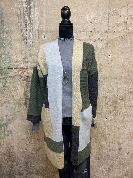 Olive Color Block Cardigan