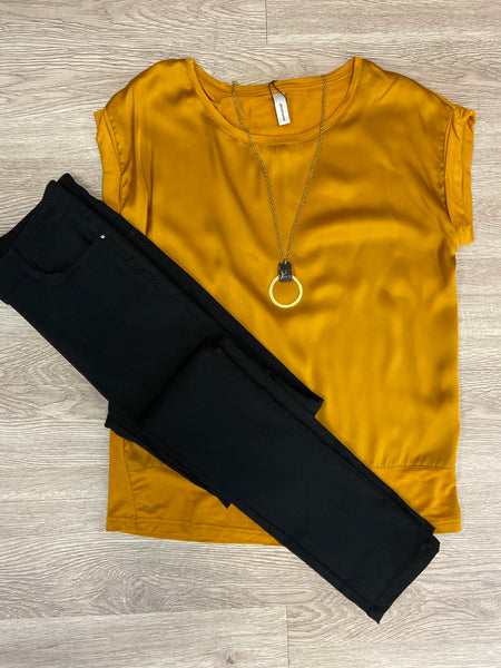 Golden Silk Front Short Sleeve Top