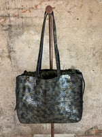Green Python Embossed Shopper