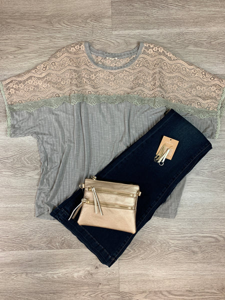 Taupe Lace Panel Shirt