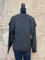 Charcoal Band Sleeve Dolman Sweater