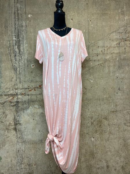 Blush Tie Dye Midi Effortless Dress