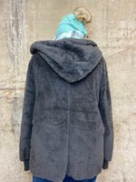 Charcoal Faux Fur Hooded Jacket